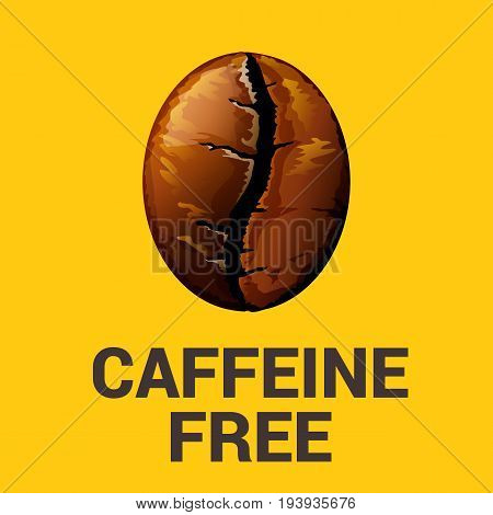 Caffeine free icon on yellow background, vector illustration