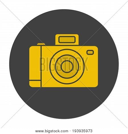 Photo camera glyph color icon. Slr vintage photocamera. Silhouette symbol on black background. Negative space. Vector illustration