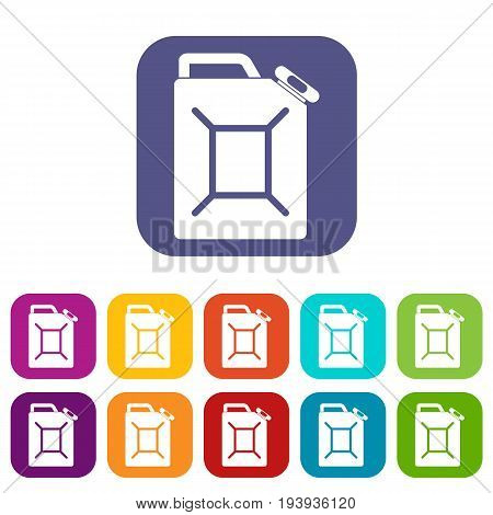 Fuel jerrycan icons set vector illustration in flat style In colors red, blue, green and other