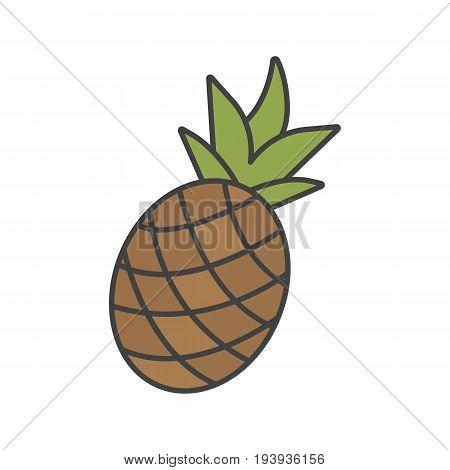 Pineapple color icon. Ananas. Isolated vector illustration