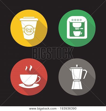 Coffee flat design long shadow glyph icons set. Mocha pot, espresso machine, steaming mug on plate, takeaway paper cup. Vector silhouette illustration