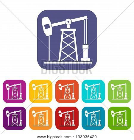 Oil derrick icons set vector illustration in flat style In colors red, blue, green and other