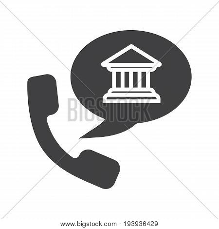 Bank phone call glyph icon. Silhouette symbol. Handset with bank building inside speech bubble. Negative space. Vector isolated illustration