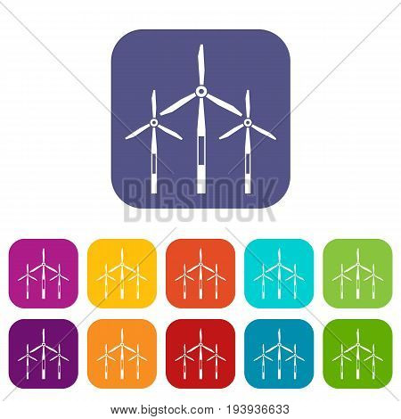 Wind generator turbines icons set vector illustration in flat style In colors red, blue, green and other