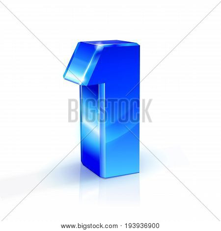 Glossy blue One 1 number. 3d Illustration on white background. Vector