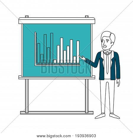 color sections silhouette of businessman in formal suit with necktie making presentation vector illustration