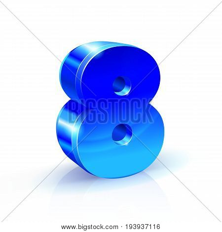 Glossy blue Eight 8 number. 3d Illustration on white background. Vector