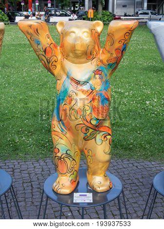 BERLIN GERMANY - JULY 3 2017: United Buddy Bears: Russia Bear At Wittenbergplatz Square In Berlin