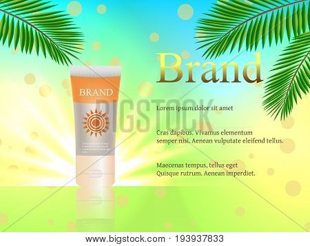 Sunblock, 3D Vector Realistic With Palm Trees Against A Bright Background. Design, Cosmetics, Advert