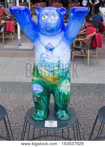 BERLIN GERMANY - JULY 3 2017: United Buddy Bears: Ukraine Bear At Wittenbergplatz Square In Berlin