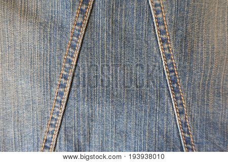 Aged Blue Denim Fabric With Two Seams
