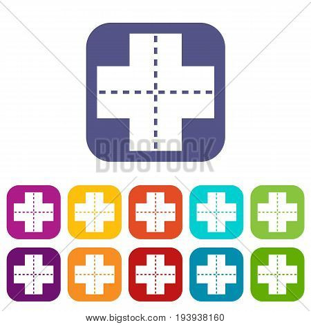 Crossroad icons set vector illustration in flat style In colors red, blue, green and other