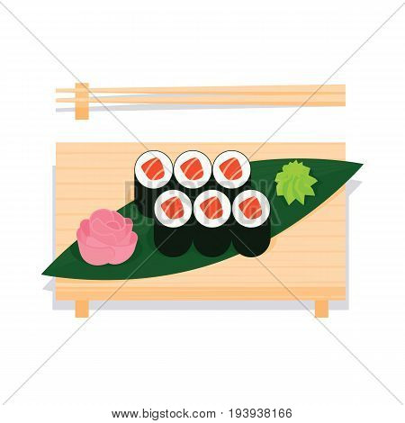 Maki sushi with salmon served on wooden board with leaf, ginger, wasabi and chopsticks near. Vector illustration of sushi roll in simple flat projection style on white background for your design.