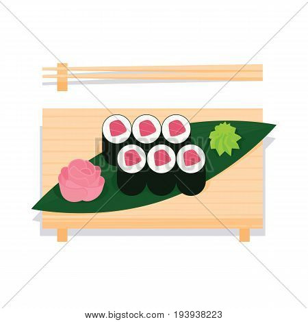 Maki sushi with tuna served on wooden board with leaf, ginger, wasabi and chopsticks near. Vector illustration of sushi roll in simple flat projection style on white background for your design.
