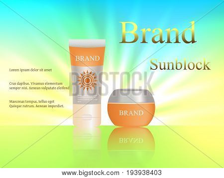 Sunblock, Lotion, 3D Vector Realistic On A Bright Background. The Sun, Summer. Design, Cosmetics, Ad