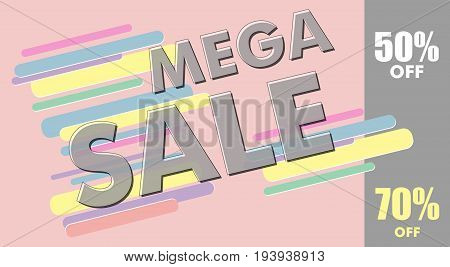 Mega sale design poster or banner. Modern colorful template. Vector illustration.