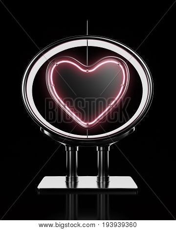 Neon heart shape in metalic frame on black background. 3d rendering
