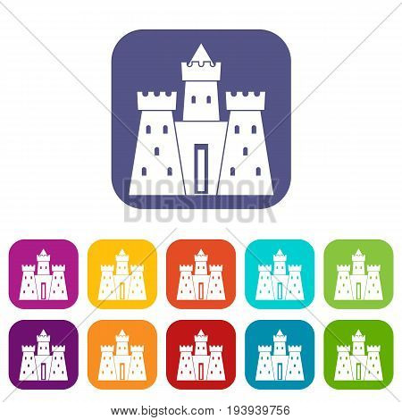 Ancient castle palace icons set vector illustration in flat style In colors red, blue, green and other