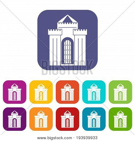Medieval palace icons set vector illustration in flat style In colors red, blue, green and other