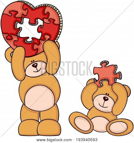 Scalable vectorial image representing a teddy bears with heart shaped puzzle, isolated on white.