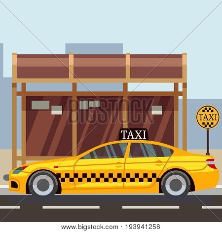 Taxi flat poster - taxi car on taxi stop. Vector illustration