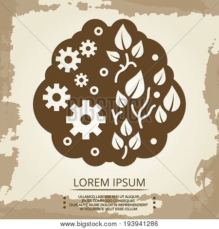 Two hemispheres of the brain vintage design. Vector illustration flat