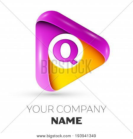 Realistic letter Q vector logo symbol in the colorful triangle on white background. Vector template for your design