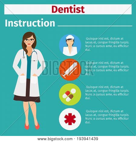 Medical equipment instruction manuals with icons for dentist. Vector illustration
