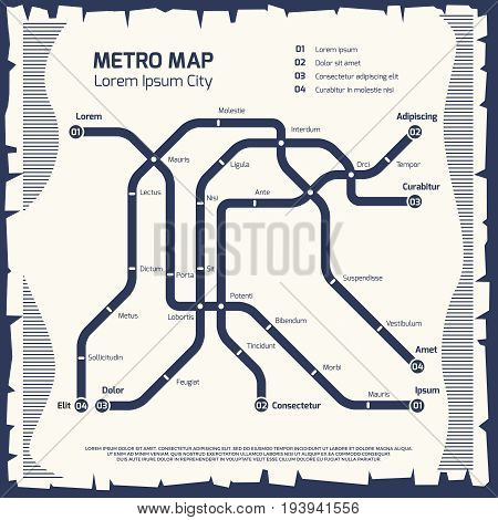 Metro subway map - subway poster design. Poster underground map transport. Vector illustration