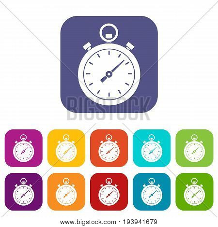 Chronometer icons set vector illustration in flat style In colors red, blue, green and other