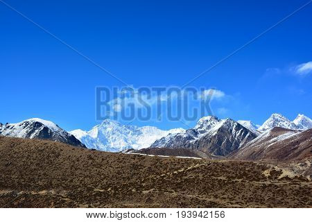 Beautiful view of the Cho-Oyu Mount on the way to Gokyo Lakes Himalayas Nepal