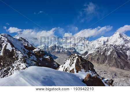 Cho-Oyu Mount in clouds. View from the top of the Gokyo Ri. Himalayan mountains Nepal