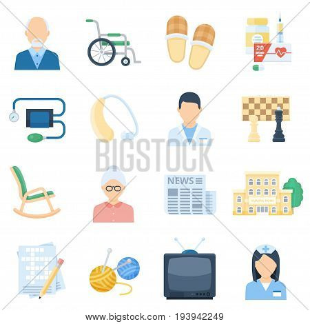 Nursing home cartoon set. Care packages and duties brochure images, entertainment and modern clinic facilities. Vector flat style cartoon illustration isolated on white background