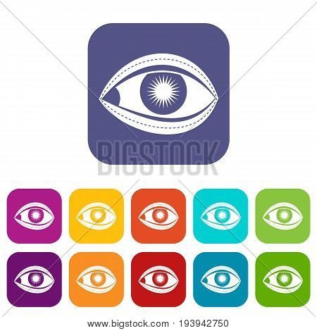 Plastic surgery of eye icons set vector illustration in flat style In colors red, blue, green and other