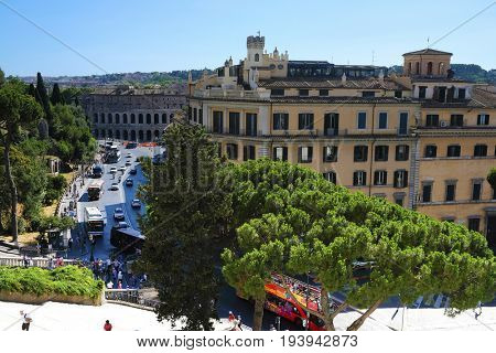 Rome, Italy - July, 1, 2017: veiw of Venice square in a center of Rome, Italy
