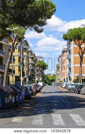 Rome, Italy - July, 1, 2017: dormitory district in Rome, Italy