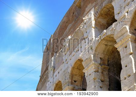 Roma, Italy - July, 2, 2017: Colosseum, ancient Roman amphitheater, one of the main sights of Rome