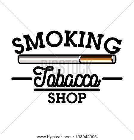 Color vintage tobacco shop emblem. Smoke shop. Gentleman club badge, tobacco retail symbol vector illustration.