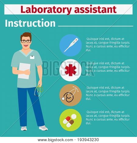 Medical equipment instruction manuals with icons for laboratory assistant. Vector illustration