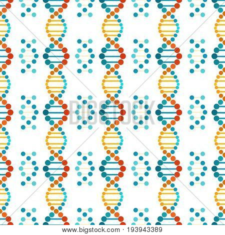 Colorful DNA spiral seamless pattern - genetic, biological or medicinal texture. Vector illustration