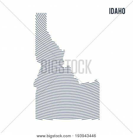Vector abstract hatched map of of State of Idaho with curve lines isolated on a white background. Travel vector illustration.