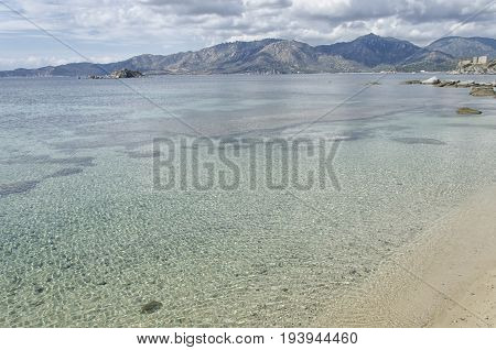View of clean water in South Sardinia