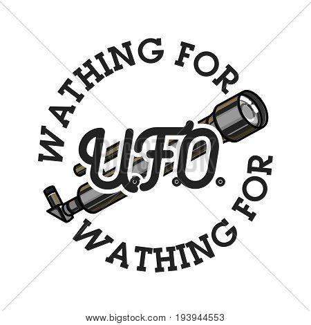 Color vintage UFO emblem, label, badge and design elements. Vector illustration, EPS 10
