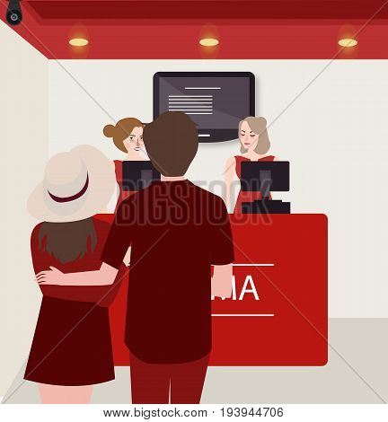 couple buy purchase movie ticket counter theater vector
