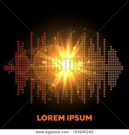 Music beat vector background - shining colorful equalizer with flash of lights. Digital graphic equalizer illustration