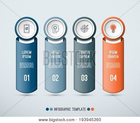 Infographic concept of 3 vertical elements. Vector illustration. Can be used for web banner, workflow layout, diagram, step by step infographics, graph, chart. Place for text and images.