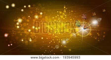 Butterflies with transparent wings on a gold background with glare and reflections. Vector illustration of children's beautiful for your design, for printing, website, sublimation, greeting card ...