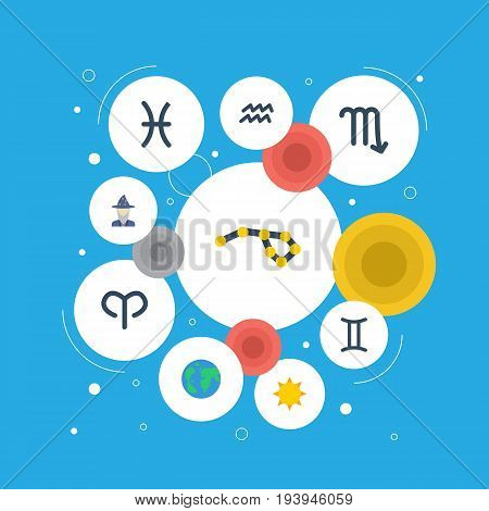 Flat Icons Horoscope, Twins, Solar And Other Vector Elements. Set Of Galaxy Flat Icons Symbols Also Includes Gemini, Aries, Astrologer Objects.