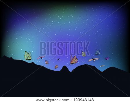 Dragonflies and butterflies with transparent wings on a blue background with the silhouette of a mountain. Vector illustration of children's beautiful for your design, for printing, website, sublimation, greeting card ...