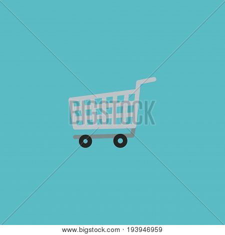 Flat Icon Shopping Cart Element. Vector Illustration Of Flat Icon Trolley Isolated On Clean Background. Can Be Used As Trolley, Cart And Shopping Symbols.
